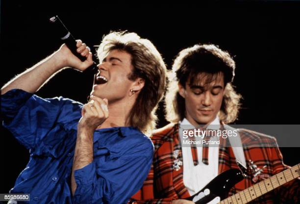 George Michael and Andrew Ridgeley of WHAM! performing in Japan, January 1985.