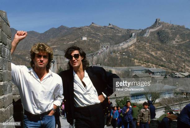 George Michael and Andrew Ridgeley of Wham visit the Great Wall as they promote the firstever gig by a Western pop band in communist China Wham...