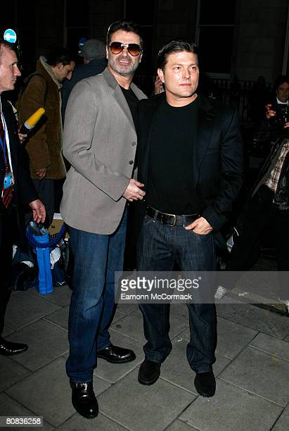 George Michael and Kenny Goss attend the Linda McCartney Photographs Private View at the James Hyman Gallery on April 23 2008 in London England
