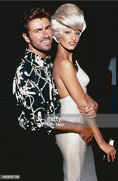 George Michael and Linda Evangelista during the 'Too Funky' video shoot circa 1992 in Paris France