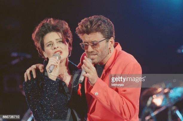 George Michael and Lisa Stansfield perform These Are The Days of Our Lives at The Freddie Mercury Tribute concert at Wembley Stadium in 1992 Picture...