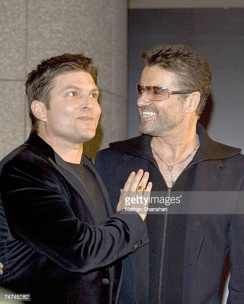 George Michael and partner Kenny Goss at the Cafe Les Deux Magots Paris in Tokyo Japan