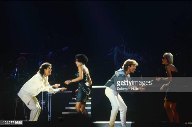 George Michael, Andrew Ridgeley, Shirlie Holliman, Helen DeMacque, Wham! 23–24 December 1984, Wembley Arena.