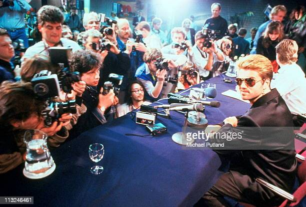 George Michael appearing in front of photographers at a press conference Japan March 1988