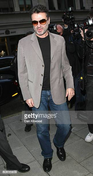 George Michael arrives to a private view of Linda McCartney photographs at the James Hymen Gallery on April 23 2008 in London England