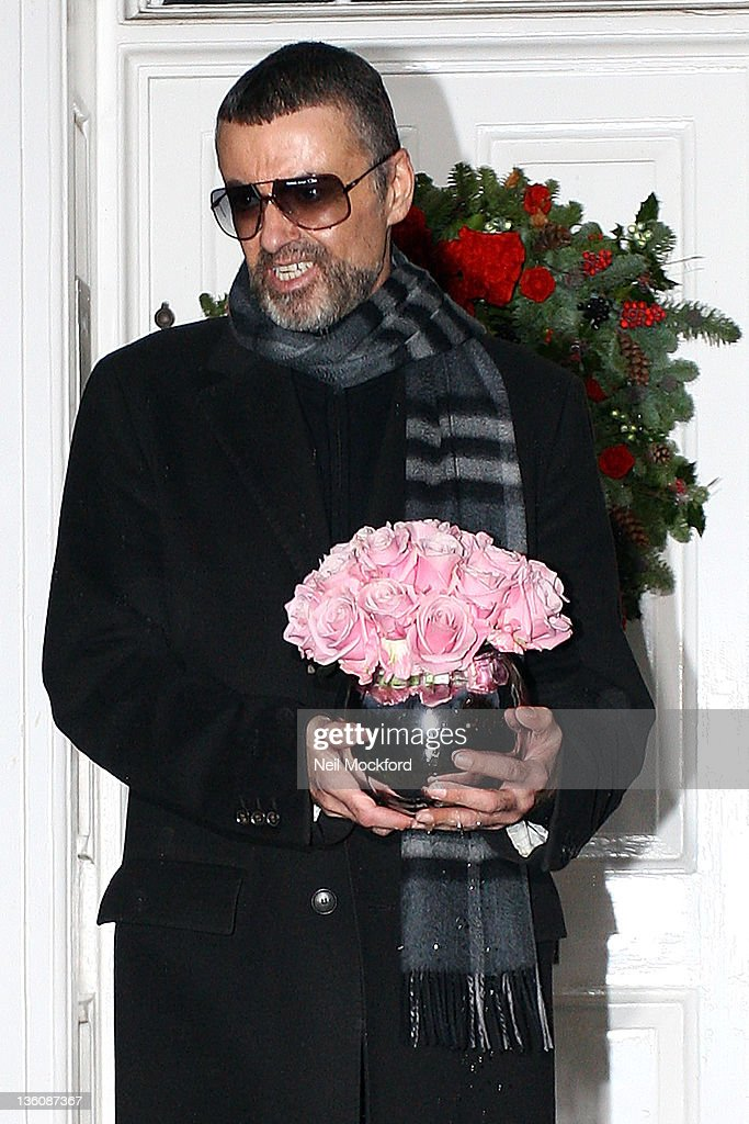 George Michael gives a press conference outside his North London Home on December 23, 2011 in London, United Kingdom. The singer spoke to the media about his recent illness, which forced him to cancel dates on his tour.
