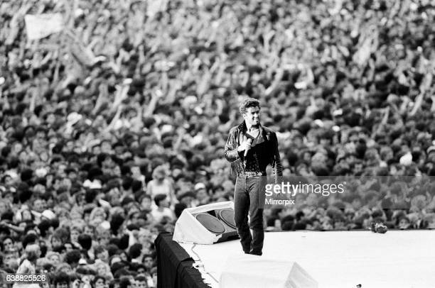 George Michael of pop duo Wham at their farewell concert entitled The Final Wembley Stadium 28th June 1986