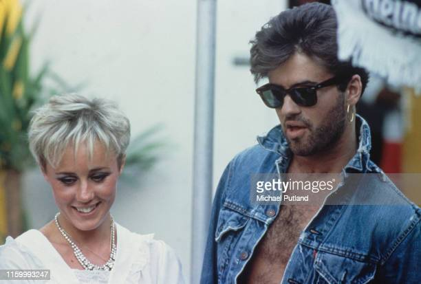 George Michael , of Wham!, pictured together with Shirlie Holliman backstage prior to performing at their farewell concert, entitled 'The Final' at...