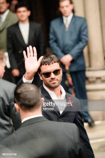 George Michael outside court after losing his battle against Sony Wearing an AIDS ribbon 21st June 1994