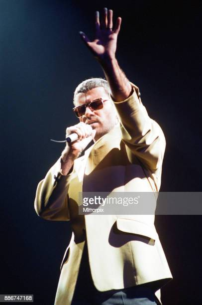 George Michael performing on stage at the Wembley Arena during his Cover to Cover tour 22nd March 1981
