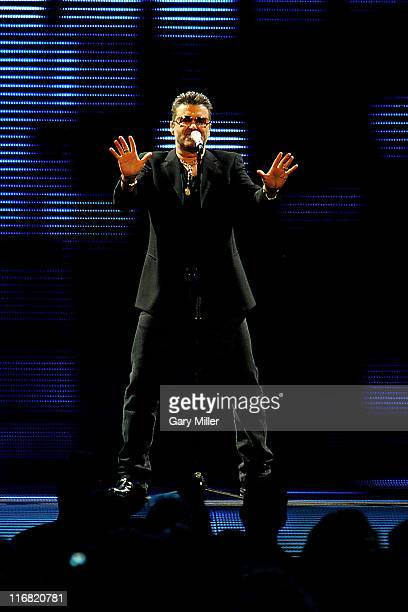 George Michael performs in concert at the American Airlines Center on July 13, 2008 in Dallas, Texas.
