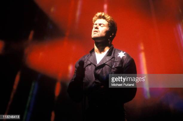 George Michael performs on stage, Australia, March 1988.