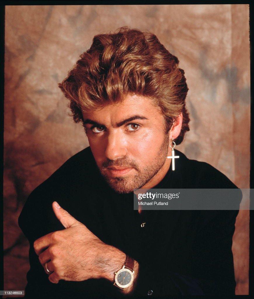 George Michael, studio portrait, London, 1987.
