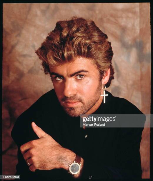 George Michael, studio portrait, London, 1987.