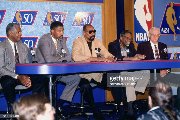George MikanWilt ChamberlainBill RussellJulius Erving and Oscar Robertson speak during a press conference to announce the 50 Greatest Players in NBA...