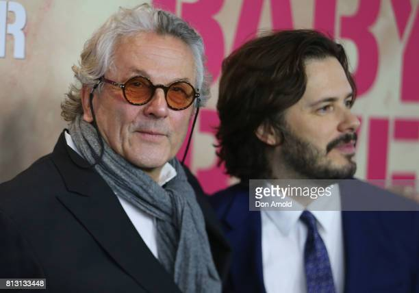 George Miller and Edgar Wright arrive ahead of the Baby Driver Australian Premiere at Event Cinemas George Street on July 12 2017 in Sydney Australia