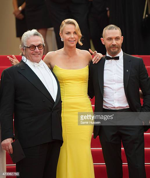 "George Miller, Charlize Theron and Tom Hardy attend the ""Mad Max : Fury Road"" Premiere during the 68th annual Cannes Film Festival on May 14, 2015 in..."