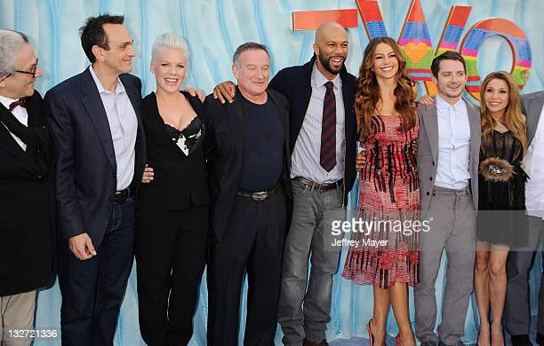 George Miller Hank Azaria singer/actress Alecia Moore aka Pink Robin Williams Common Sofia Vergara Elijah Wood and EG Daily attend the Happy Feet Two...