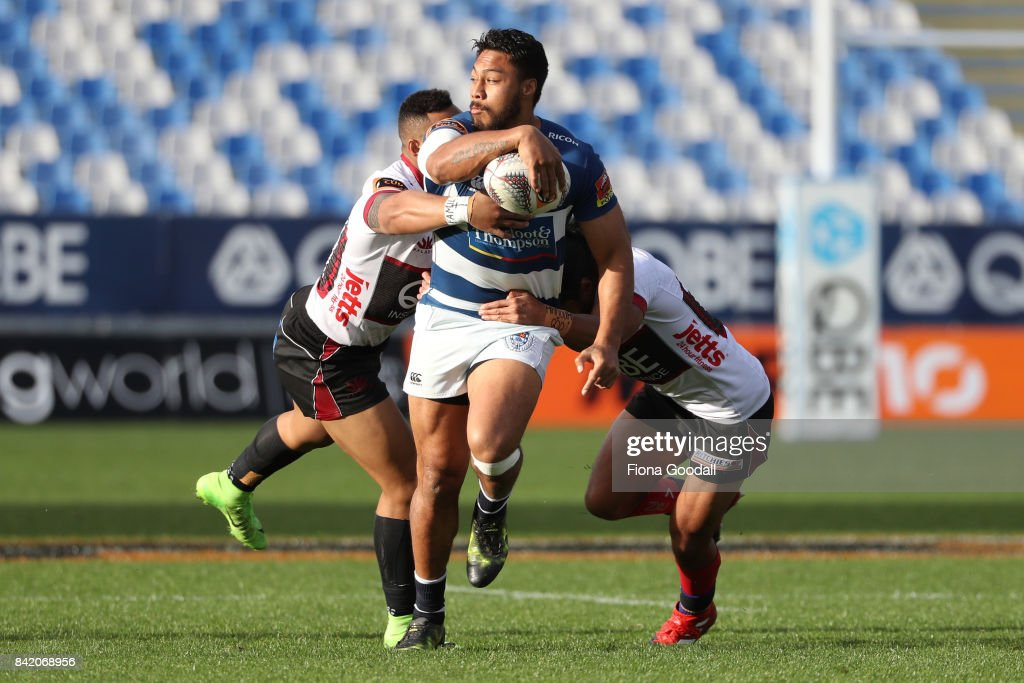 George Moala of Auckland looks to pass during the round three Mitre 10 Cup match between North Harbour and Auckland on September 3, 2017 in Auckland, New Zealand.