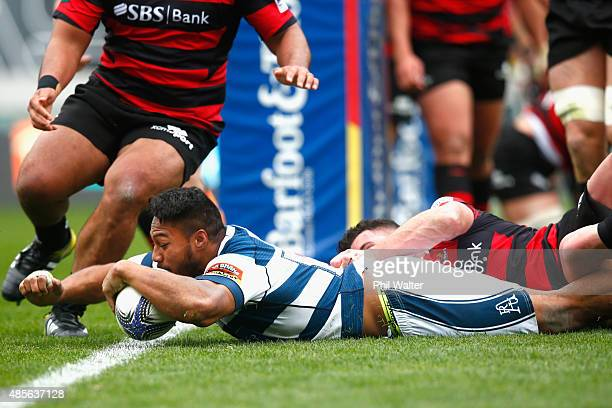 George Moala of Auckland scores a try during the round three ITM Cup match between Auckland and Canterbury at Eden Park on August 29 2015 in Auckland...