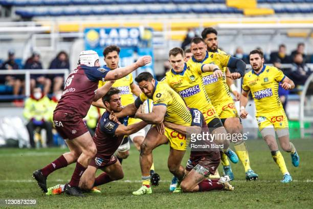 George MOALA of Clermont and Benjamin BOTICA of Bordeaux and Maxime LAMOTHE of Bordeaux during the Top 14 match between Clermont and Union Bordeaux...