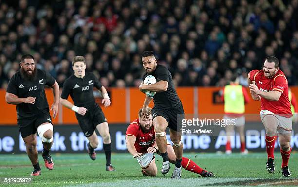 George Moala of New Zealand on the attack during the International Test match between the New Zealand All Blacks and Wales at Forsyth Barr Stadium on...