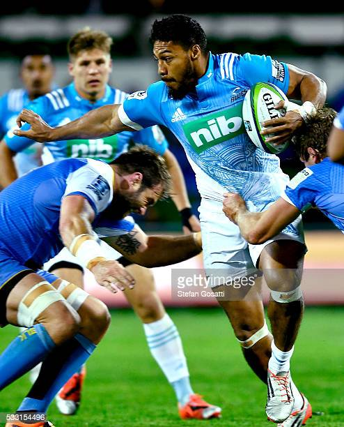 George Moala of the Blues attempts to break from a tackle during the round 13 Super Rugby match between the Force and the Blues at nib Stadium on May...
