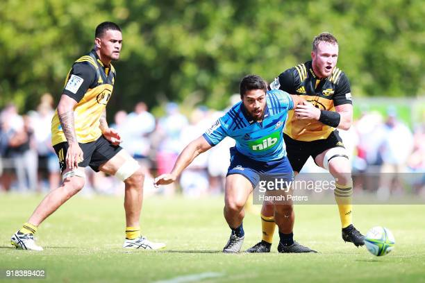 George Moala of the Blues loses the ball during the Super Rugby trial match between the Blues and the Hurricanes at Mahurangi Rugby Club on February...