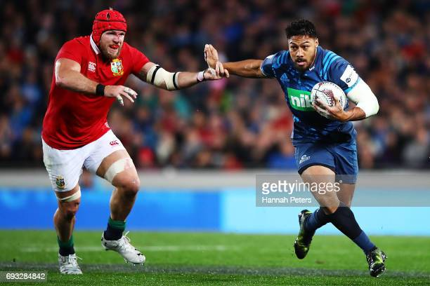 George Moala of the Blues makes a break during the match between the Auckland Blues and the British Irish Lions at Eden Park on June 7 2017 in...