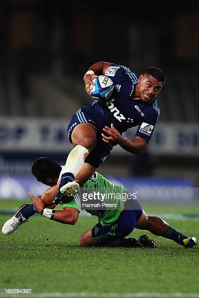 George Moala of the Blues makes a break during the round eight Super Rugby match between the Blues and the Highlanders at Eden Park on April 5 2013...