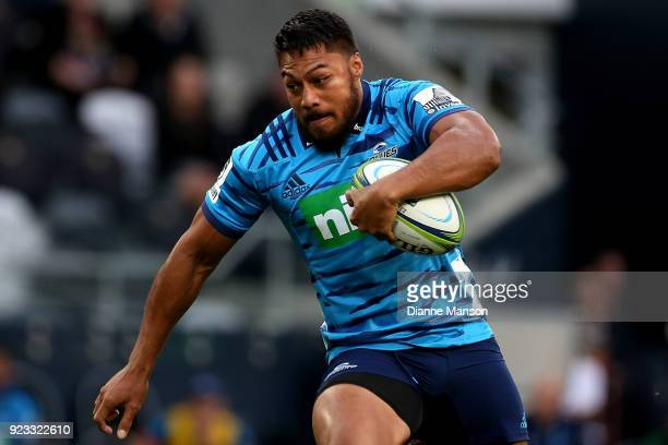 George Moala of the Blues runs the ball during the round two Super Rugby match between the Highlanders and the Blues at Forsyth Barr Stadium on...