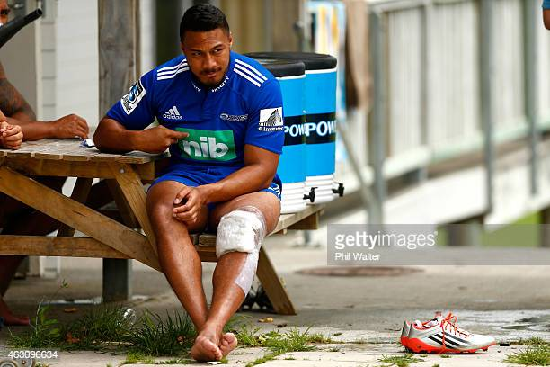 George Moala of the Blues sits out training with an injury during an Auckland Blues Super Rugby training session at Unitec on February 10 2015 in...