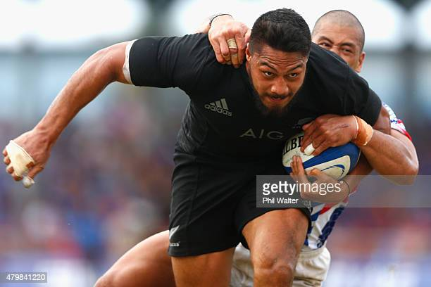 George Moala of the New Zealand All Blacks scores a try on debut during the International Test match between Samoa and the New Zealand All Blacks at...
