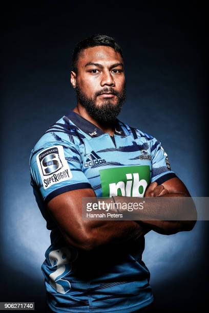 George Moala poses during the Blues Super Rugby headshots session at Blues HQ on January 17 2018 in Auckland New Zealand