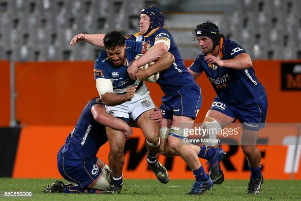 George Moalam of Auckland is tackled by Teihorangi Walden of Otago during the round six Mitre 10 Cup match between Otago and Auckland at Forsyth Barr...