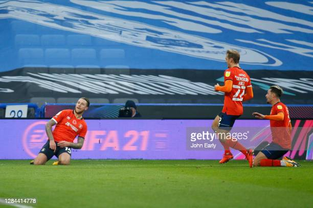 George Moncur of Luton Town celebrates scoring during the Sky Bet Championship match between Huddersfield Town and Luton Town at John Smith's Stadium...