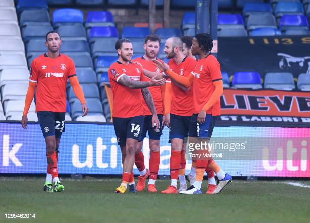 George Moncur of Luton Town celebrates scoring their first goal during the FA Cup Third Round match between Luton Town and Reading at Kenilworth Road...