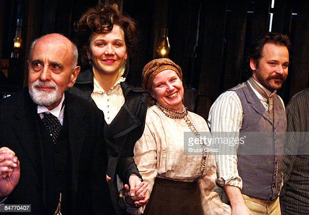 George Morfogen Maggie Gyllenhaal Cyrilla Baer and Peter Sarsgaard take the curtain call at the offbroadway opening night of Uncle Vanya at The...