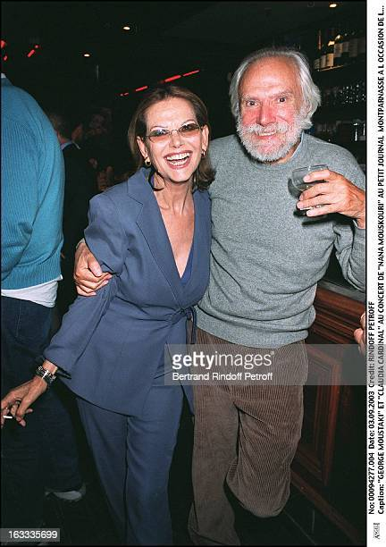 """George Moustaki and """"Claudia Cardinale"""" """"Nana Mouskouri"""" concert at the """"Petit Journal"""" in Montparnasse to mark the launch of her new album """"Nana..."""