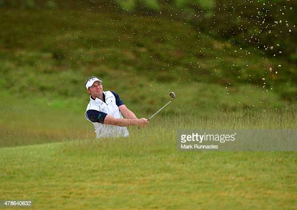 George Murray of Scotland plays a bunker shot to the 9th green during the second round of the 2015 SSE Scottish Hydro Challenge at the MacDonald Spey...