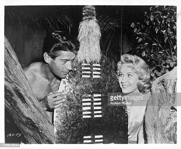 George Nader and Virginia Mayo in a scene from the film 'Congo Crossing' 1956