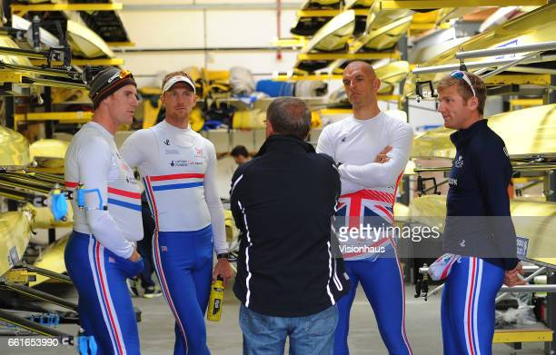 George Nash Alex Gregory Constantine Louloudis and Mohamed Sbih talk to Coach Jürgen Gröbler of the GB Olympic Team at the Redgrave Pincent Rowing...
