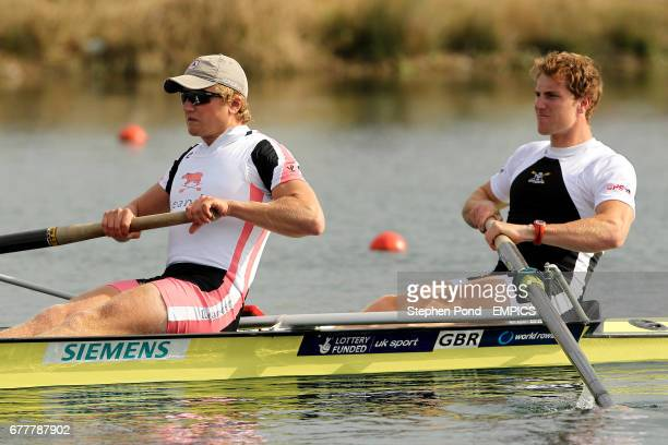 George Nash and Constantine Louloudis in action in the final of the mens pair during the Great Britain Rowing Team Senior Trials at Eton Dorney Lake