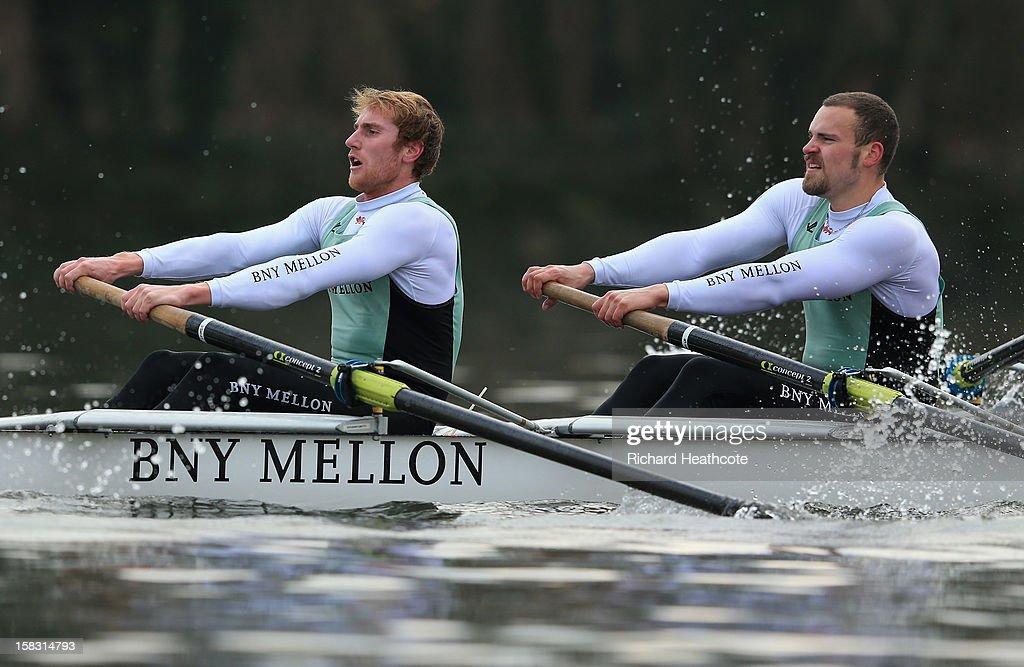 George Nash (L) and Helge Gruetjen of Cambridge's 'Mash' crew in action during the trial 8's for The BNY Melon University Boat Race on The River Thames on December 13, 2012 in London, England.