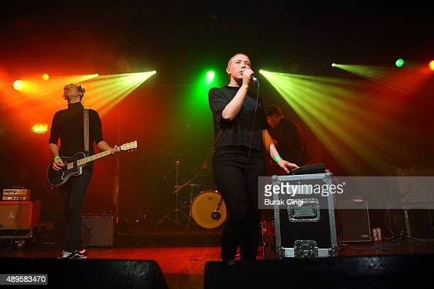 George Nicholls and Kate Stonestreet of Joanna Gruesome perform live on stage at Scala on September 22 2015 in London England