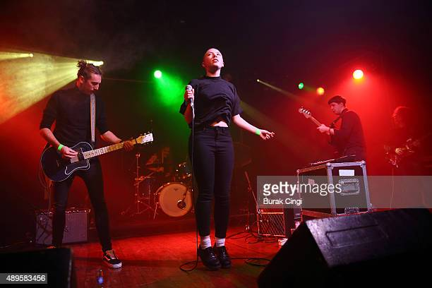 George Nicholls Kate Stonestreet and Max Warren of Joanna Gruesome perform live on stage at Scala on September 22 2015 in London England