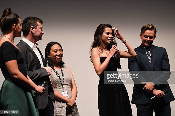 George Nolfi Jingjing Qu and Billy Magnussen attend Birth Of A Dragon TIFF premiere and afterparty on September 13 2016 in Toronto Canada