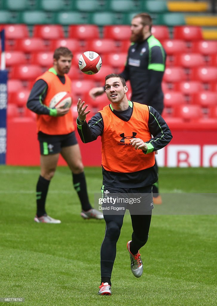 George North catches the ball during the Wales captain's run at the Millennium Stadium on February 5, 2015 in Cardiff, Wales.
