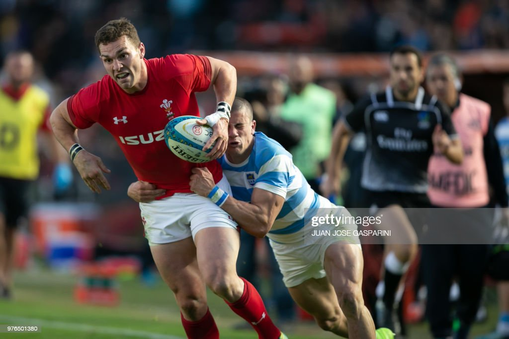 George North (L) from Wales is tackled by Bautista Delguy from Argentina during the International Test Match between Argentina and Wales at the Brigadier Estanislao Lopez Stadium, on June 16, 2018 in Sante Fe, Argentina.