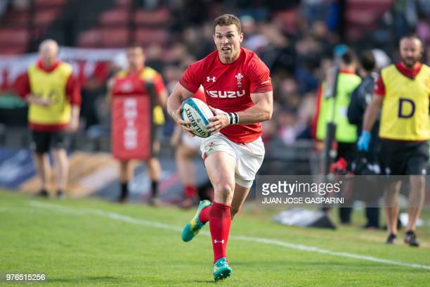 George North from Wales runs with the ball during the International Test Match between Argentina and Wales at the Brigadier Estanislao Lopez Stadium...